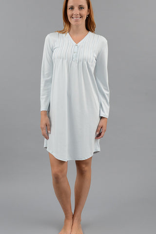 Pleated Henley Nightshirt