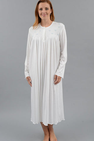 Smocked Long Sleeve Nightgown