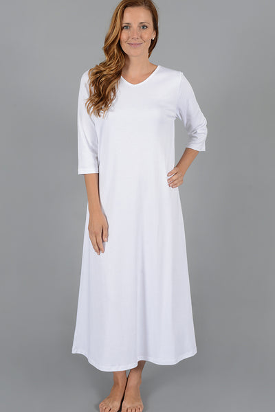 Long V-Neck Gown with 3/4 sleeve
