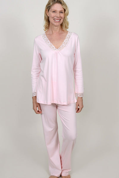 Lace Trim Long Sleeve Pj