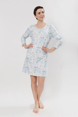 Blue Hydrangea 3/4 sleeve V-neck Nightshirt