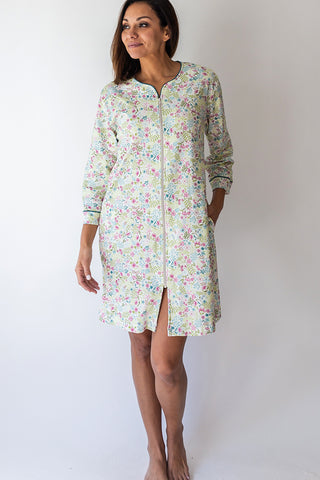 English Floral Short Zip Robe
