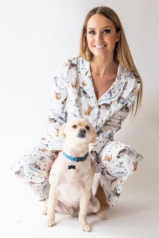 Rescue Dog Print Full Button Pj