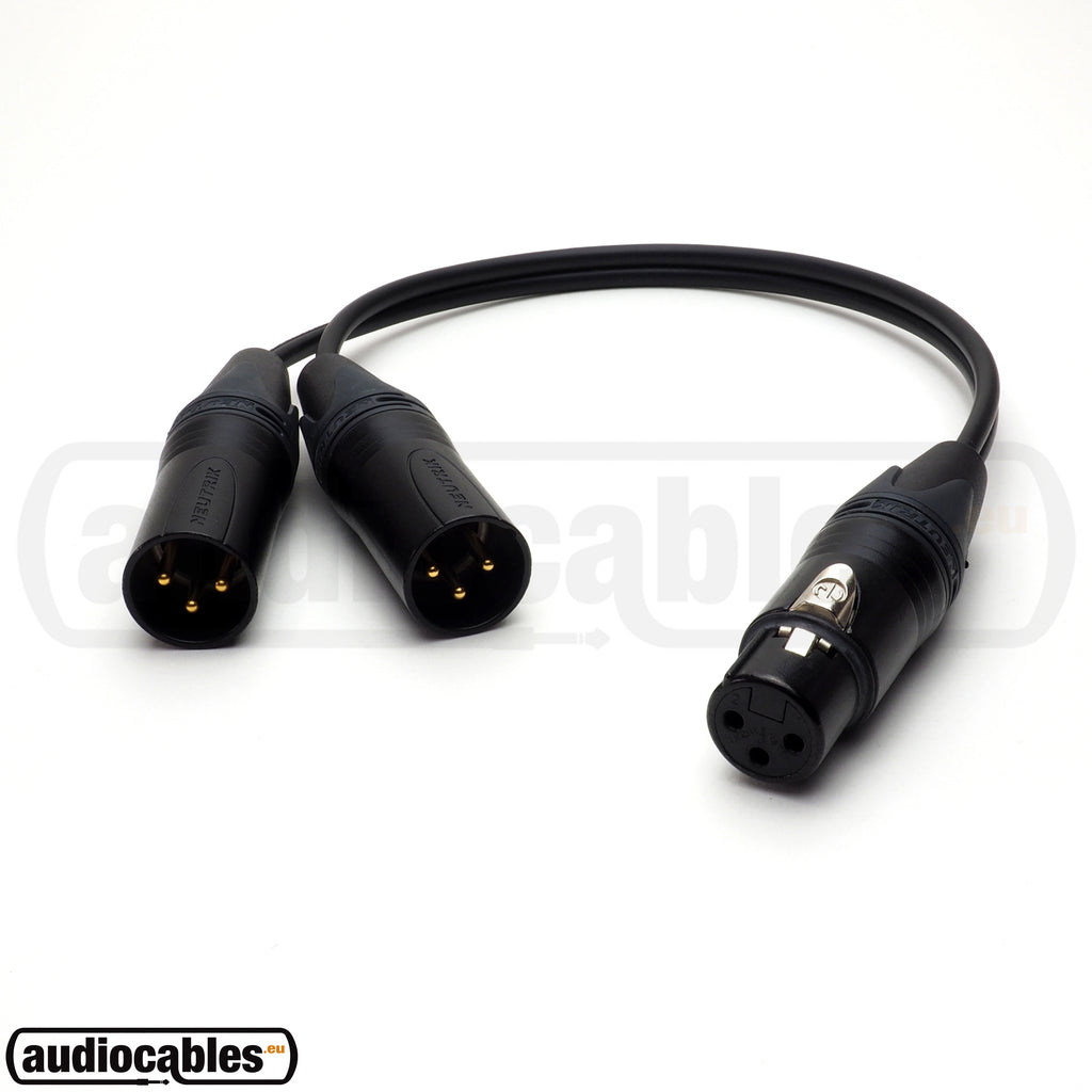 One Female XLR To Two Male XLR - Balanced Y Splitter Cable w/ Neutrik Gold Connectors