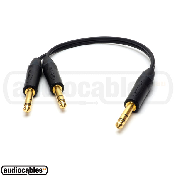 One TRS Jack To Two TRS Jack - Balanced Y Splitter Cable w/ Neutrik Gold Connectors