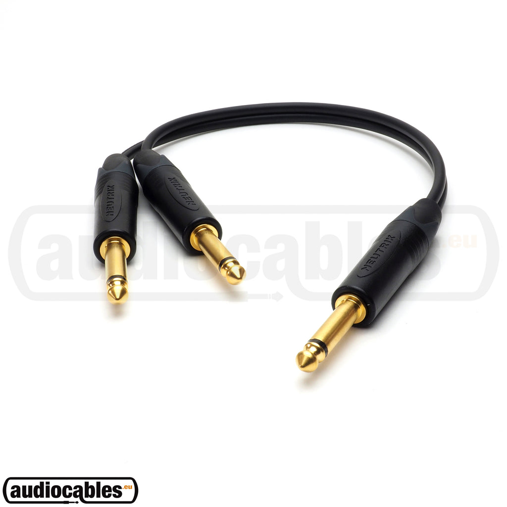 One TS Jack To Two TS Jack - Y Splitter Cable w/ Neutrik Gold Connectors