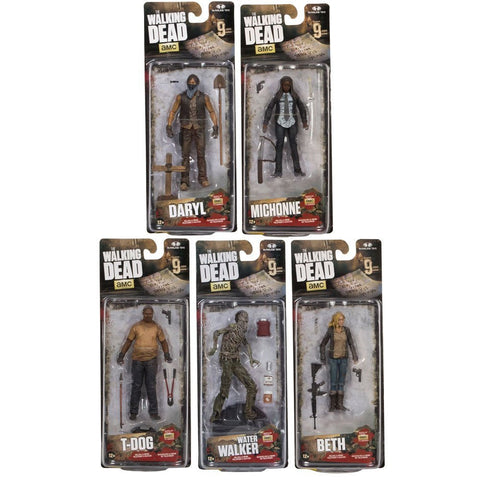 The Walking Dead Beth, Daryl Dixon, T-Dog, Water Walker and Michonne Action Figures Set of 5