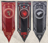 Game of Thrones Tournament Banners Set of 3 House Stark, Targaryen, & Lannister