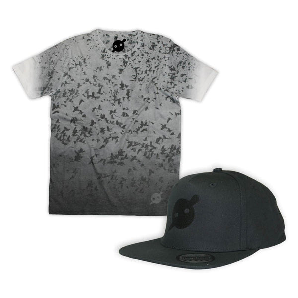All Over Crow Print Tee & Black Snapback Bundle