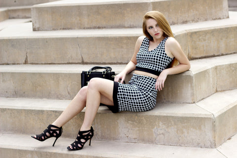 Checkered Midi Pencil Skirt