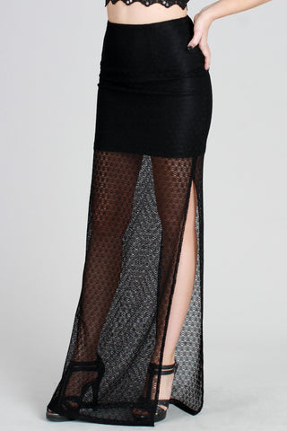 Mesh Side Split Maxi Skirt