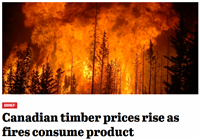 Softwood prices continue to climb as fires consume Canadian forests.