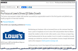 Pro Focus at Lowe's Drives Q3 Sales Growth.