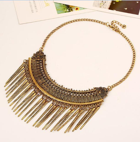 Bohemian Gold Tassel Statement Necklace