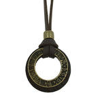Roman Numeral Pendant & Leather Statement Necklace