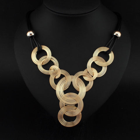 Cirlce Pendant Statement Collar Necklace