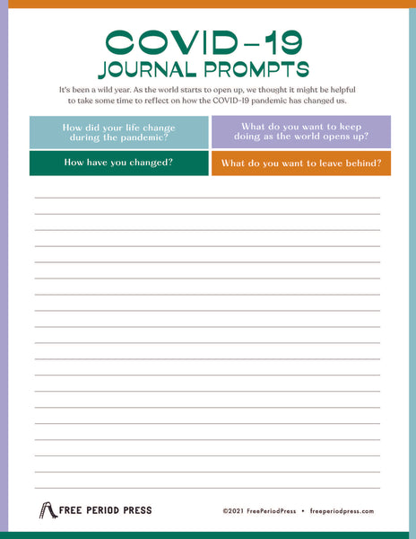 COVID-19 Journal Prompts for Adults and Students | Free Period Press