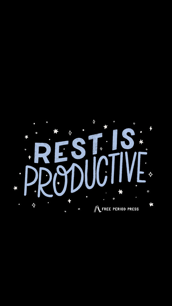 Rest is Productive Quote - Aesthetic Self-Care Phone Wallpaper
