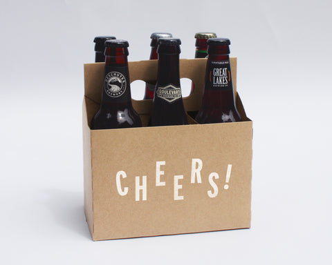 Cheers! 6-Pack Kraft Cardboard Craft Beer Carriers