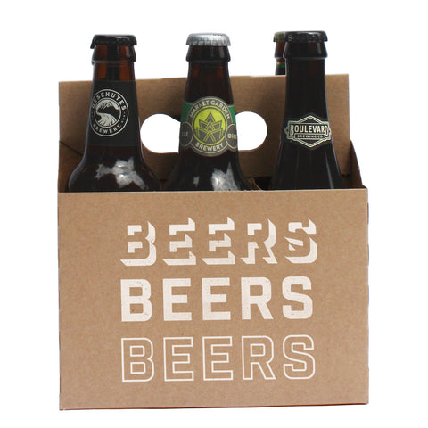 Beers Beers Beers 6-Pack Kraft Cardboard Craft Beer Carriers