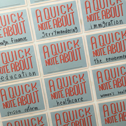 A Quick Note About... - Political Action Postcards - Set of 12