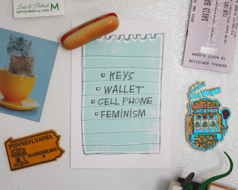 Keys, Wallet, Cell Phone, Feminism Postcard Print