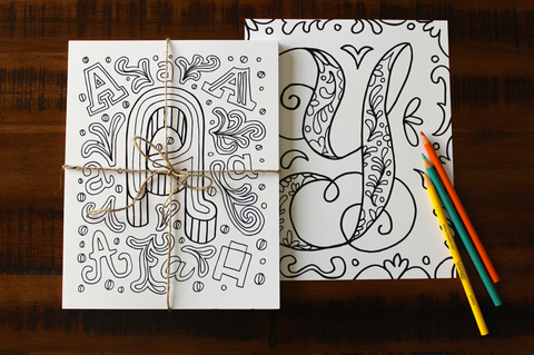 Alphabet Coloring Pages by Lisa Lorek (Set of 26)