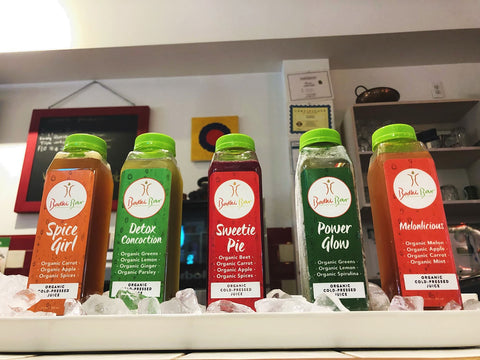 Cold pressed juices on ice