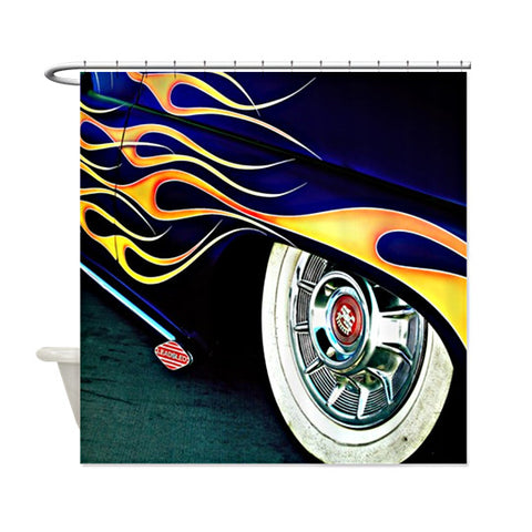Lead Sled with Flames Shower Curtain