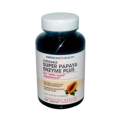 American Health Chewable Super Papaya Enzyme Plus -- 180 Chewable Tablets