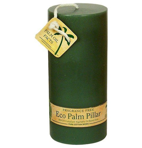 ALOHA BAY Candle Pillar Unscented Eco Green