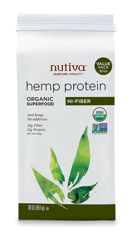 Nutiva Hi Fiber Hemp Protein Powder - 16 OZ