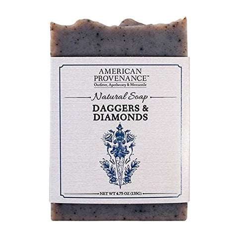 AMERICAN PROVENANCE DIAMONDS & DAGGERS BAR SOAP 4.75 OZ. PACK OF 6