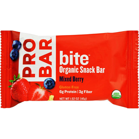 PROBAR - bite Organic Energy Bar - Mixed Berry - Gluten-Free, 6g Protein, 3g Fiber, Vegan & Dairy Free - Pack of 12
