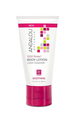 1000 Roses Soothing Body Lotion Travel Size Andalou Naturals 1.7 fl oz Liquid