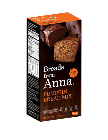 Breads from Anna, Pumpkin Bread, Gluten yeast soy rice corn dairy and nut free, 16 oz