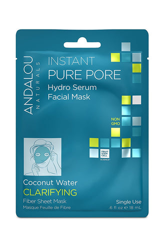 Andalou Naturals Instant Pure Pore Hydro Serum Facial Mask, 0.6 Fluid Ounce