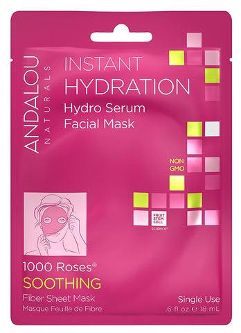 Andalou Naturals Instant Hydration Hydro Serum Facial Mask, 0.6 Fluid Ounce