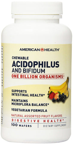 American Health Acidophilus and Bifidum Chewable Fruit Wafers, 100 Count