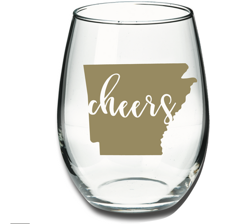 Arkansas Cheers Wine Glass