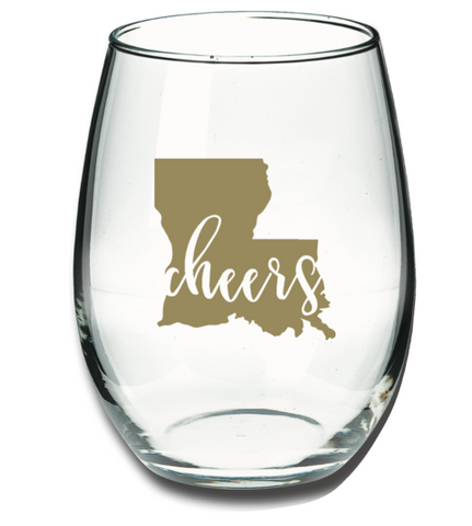 Louisiana Cheers Wine Glass