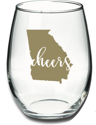 Georgia Cheers Wine Glass
