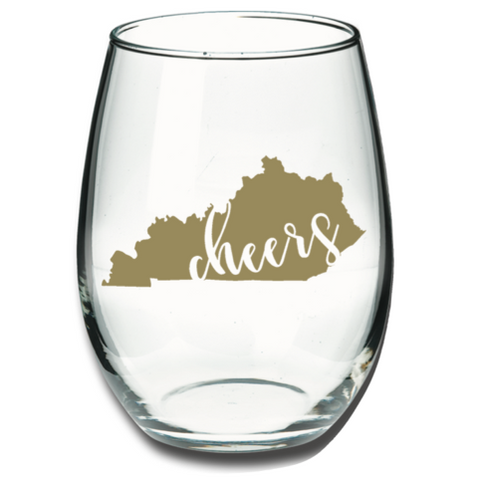Kentucky Cheers Wine Glass