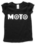 GIRL'S TEE | MOTO | Black Puff Sleeve