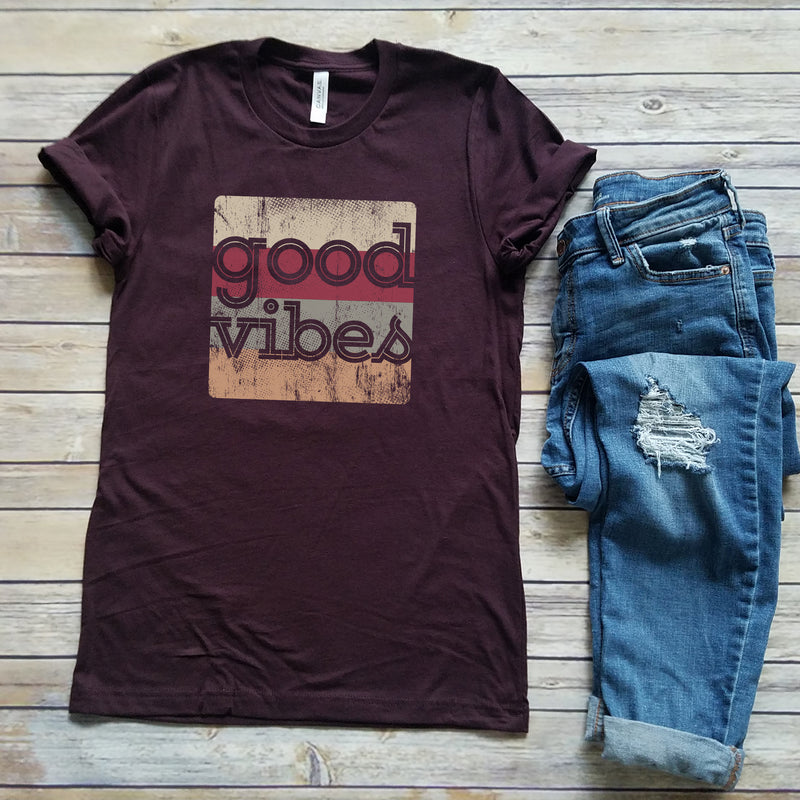 Oxblood Good Vibes Squared Unisex Short Sleeve Tee