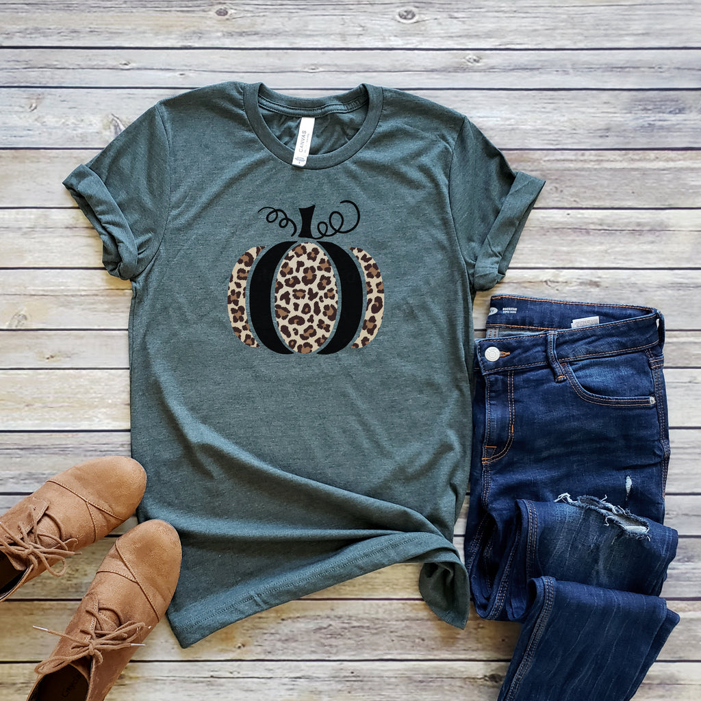 Forest Leopard Print Pumpkin Short Sleeve Tee
