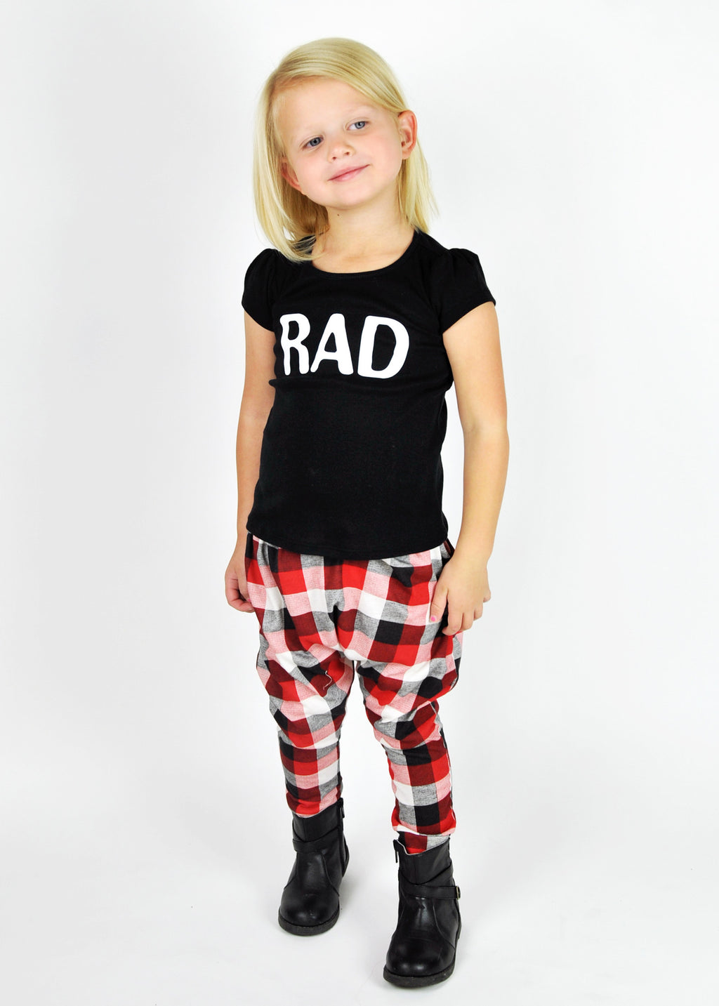 GIRL'S TEE | RAD | Black Puff Sleeve