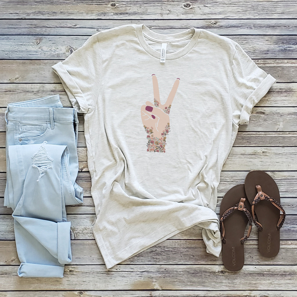 Natural Floral Peace Sign Short Sleeve Tee
