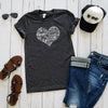 Heather Charcoal Subway Art Heart Short Sleeve Tee