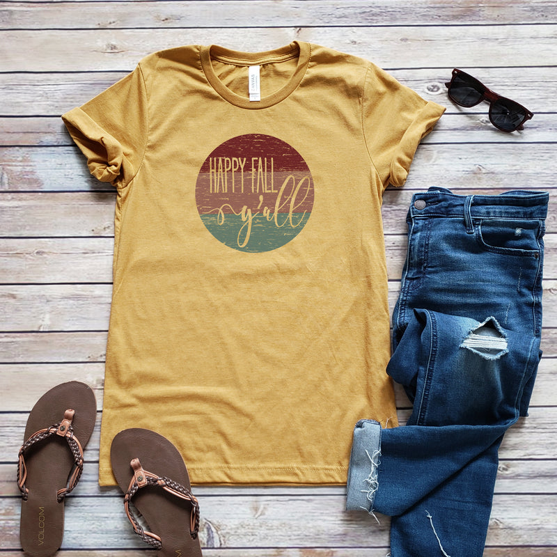 Mustard Happy Fall Y'all Short Sleeve Tee